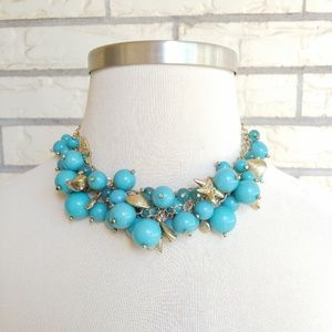 Turquoise Sea Life Necklace Shells Starfish Beads